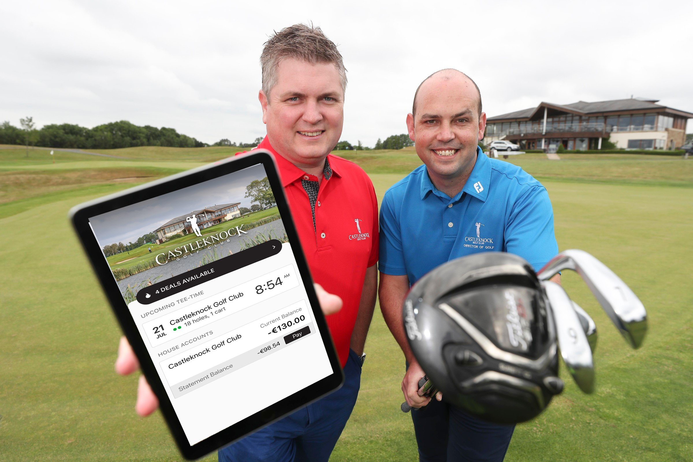 Ed Pettit, Carr Golf and Ryan Donagher, Castleknock Golf Club at the launch of Carr Golf's new golf management system