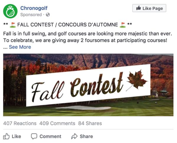 golf social media contest
