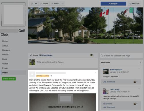 golf social media marketing groups