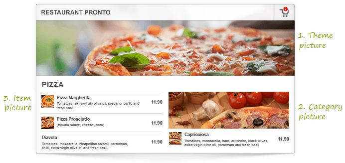 restaurant online menu screenshot